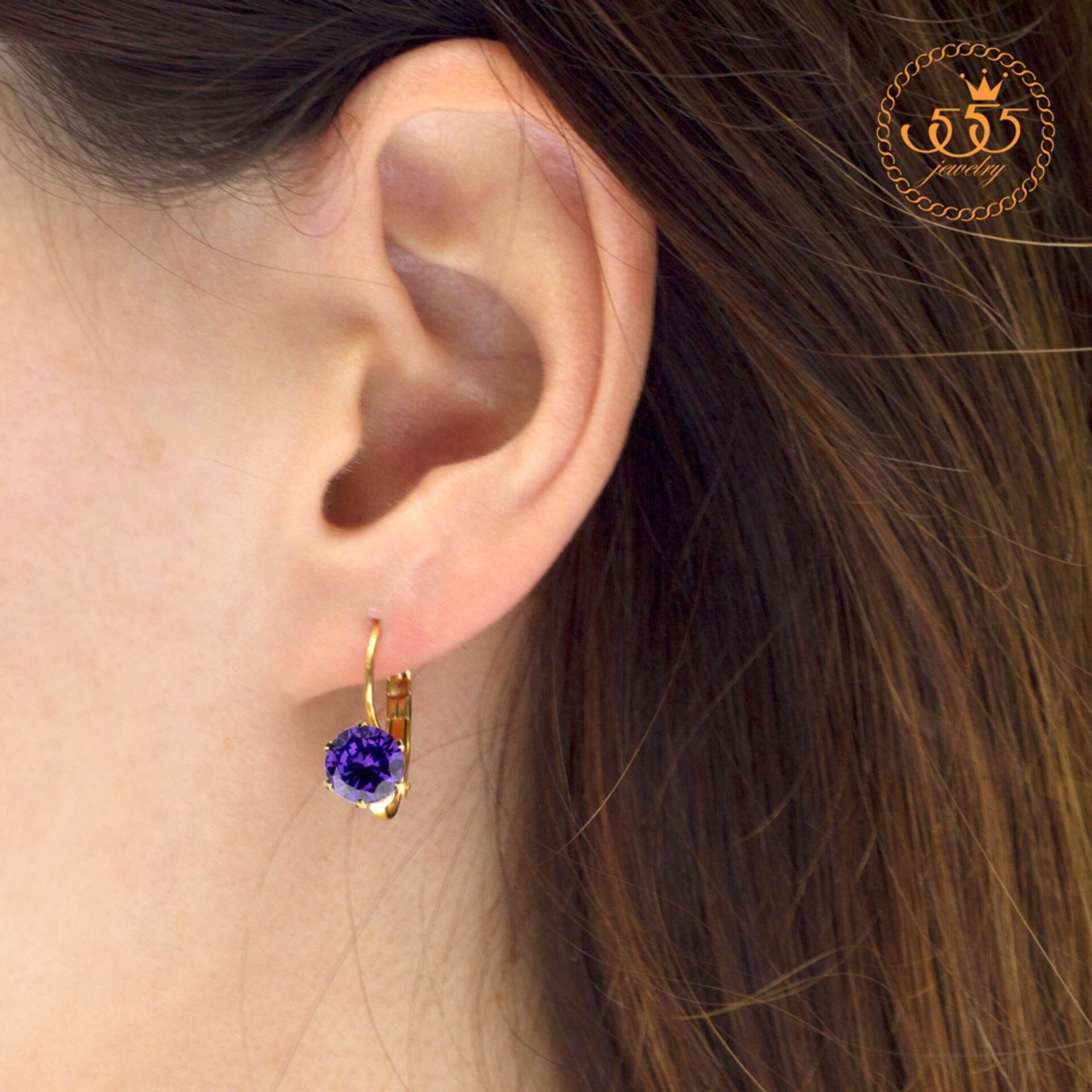 555jewelry เครื่องประดับ ผู้หญิง ต่างหูห้อย สแตนเลสสตีล -  สีทอง ประดับเพชร CZ รุ่น MNC-ER592 ต่างหู ต่างหูแฟชั่น ต่างหูห้อย ต่างหูทอง ต่างหูเงิน ต่างหูผู้หญิง
