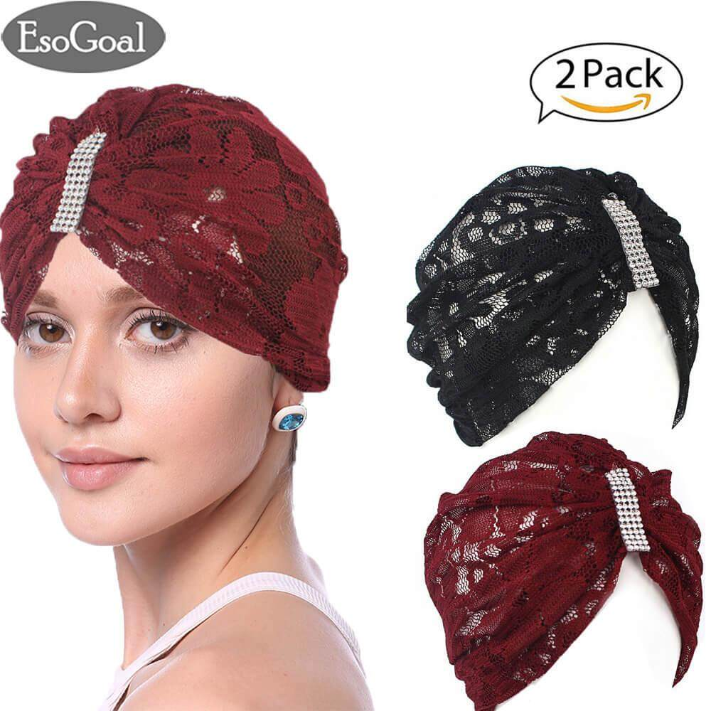 ขาย Esogoal 2 Pack Women Muslim Hijab Ruffle Cancer Chemo Elegant Lace Hat Beanie Scarf Turban Head Wrap Cap Black And Claret Esogoal เป็นต้นฉบับ