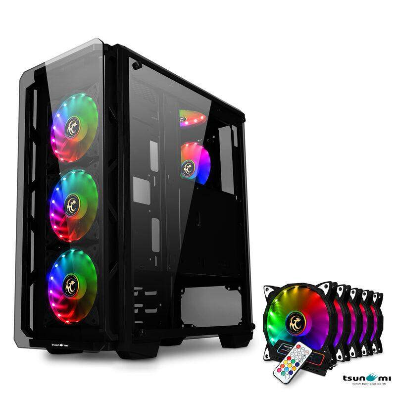 Tsunami Hunter Eagle H9 Tempered Glass Frontal Hanger Atx Gaming Case With Rainbow X5 By Jura.