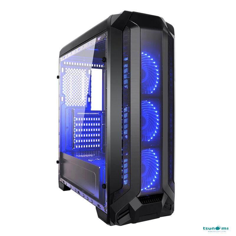 Tsunami Pro Hero K2 Series Full-View Tempered Glass Panel (with 33 Pcs Led 12 Cm Fan X 3) By Jura.