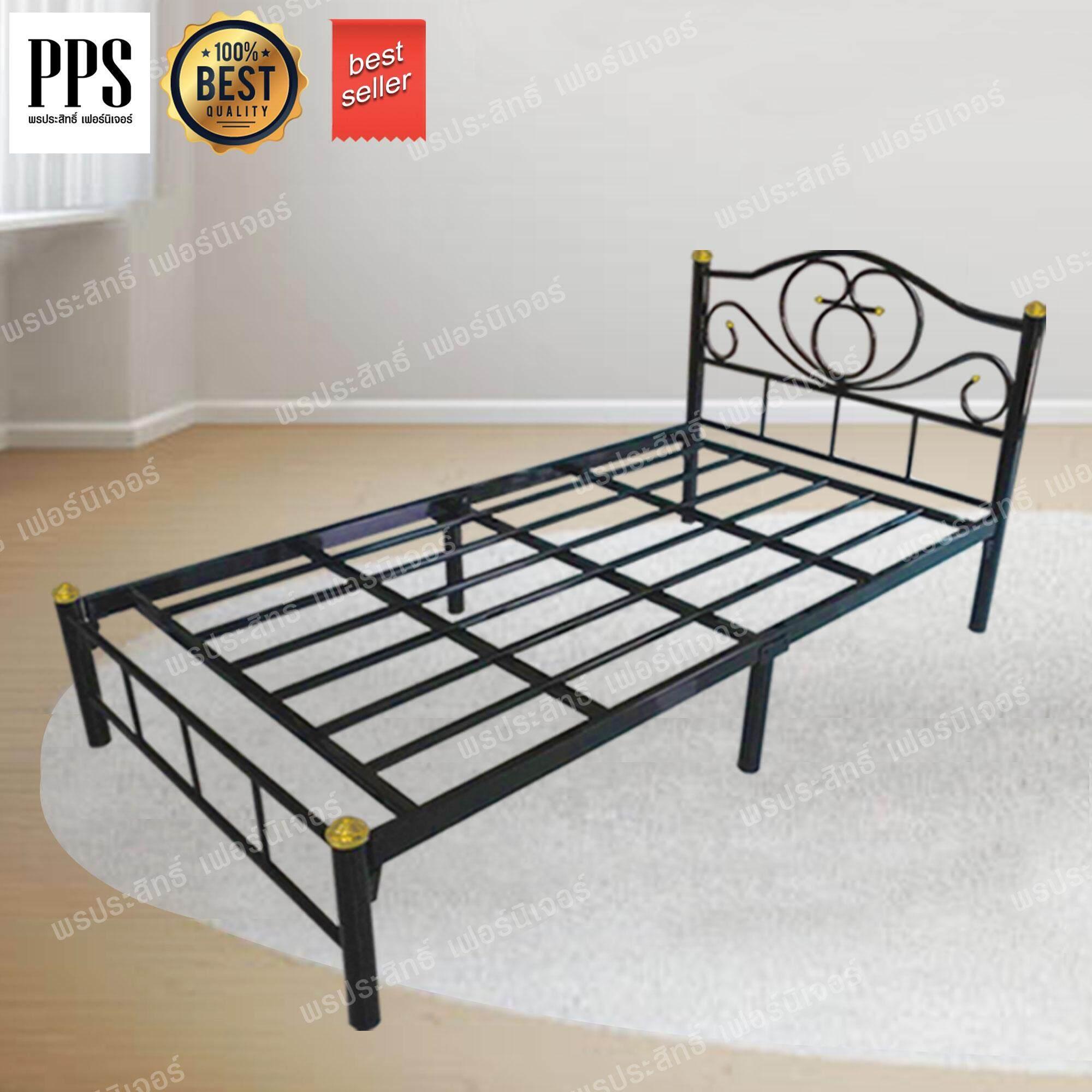 Asia เตียงเหล็ก3.5ฟุต ขา2นิ้ว รุ่นโลตัส (สีดำ).