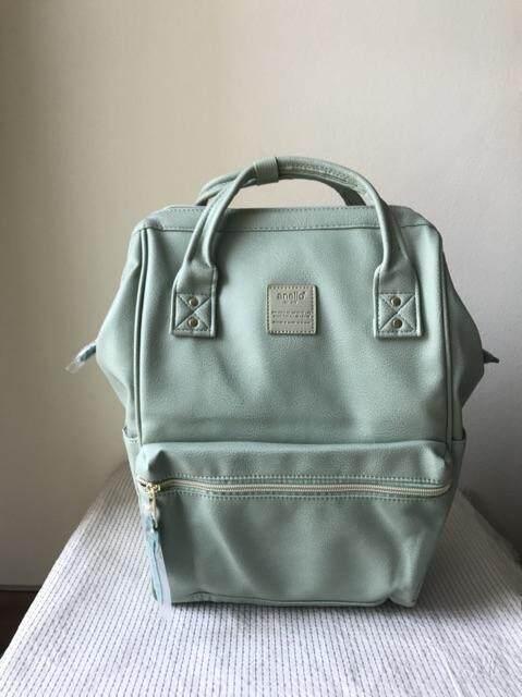 สระบุรี Anello PU Leather ของแท้ กระเป๋าเป้สะพายหลังรุ่นหนังนิ่ม- สีเขียว พาสเทล ไซส์ปกติ สุดฮิตจากญี่ปุ่น