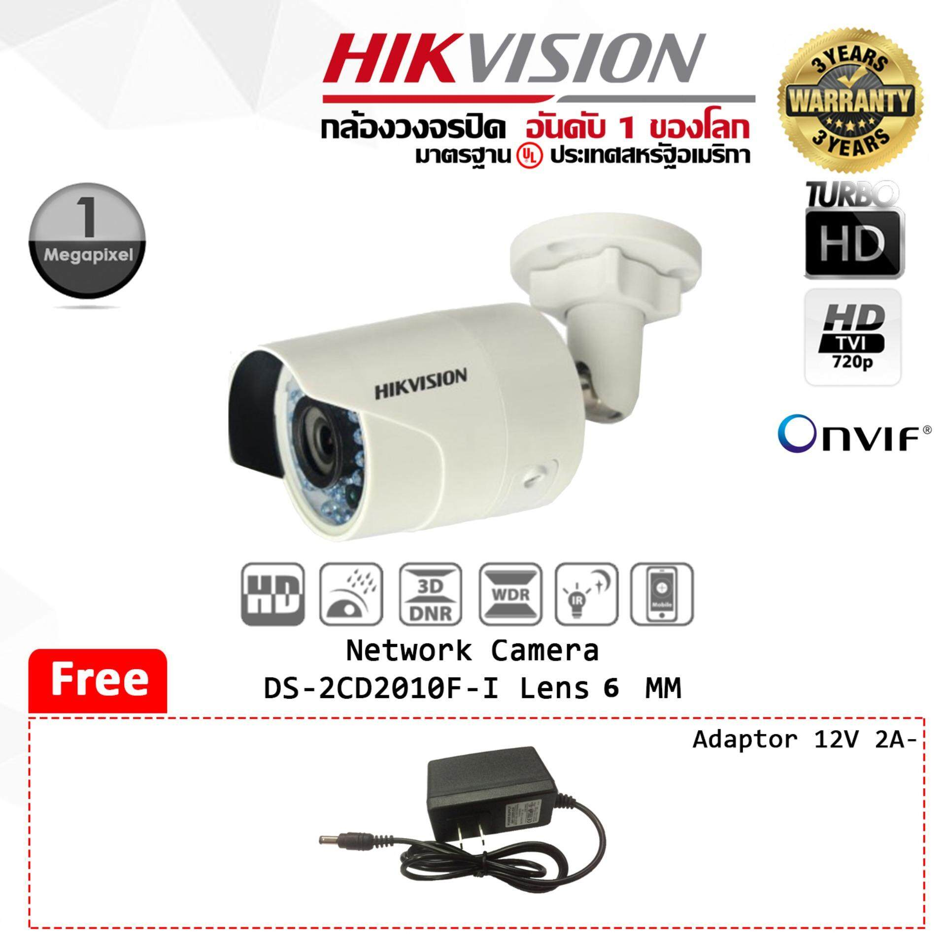 กล้องวงจรปิด Hikvision Network Camera  DS-2CD2010F-I 1.3 MP IR Mini Bullet Camera Lens 6 mm  (IP) ฟรี Adaptor 12V 2A  KENPRO