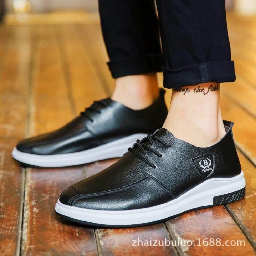 FF รองเท้าผ้าใบหนังผู้ชาย (สีดำ) รุ่น 9101