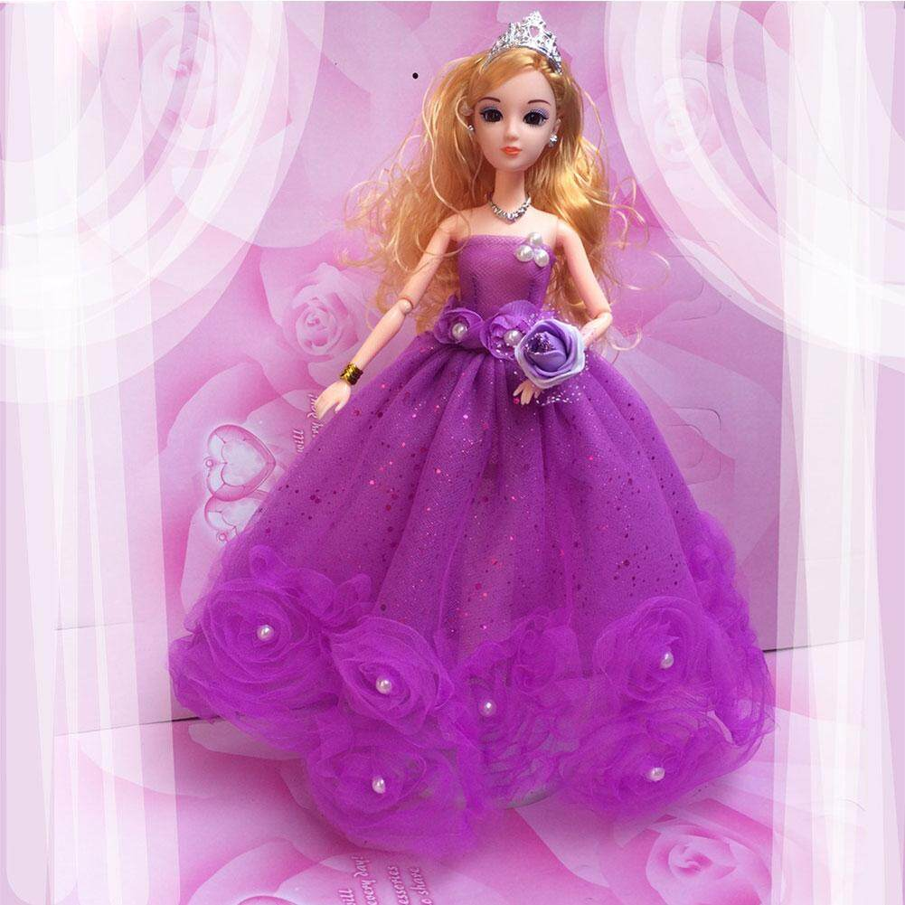 Wonderful Toy Gorgeous Flower Pearl Princess Gown Evening Party Dress Doll Clothes Outfit For 12 Barbie Doll Heightwedding Dress Does Not Contain Dolls.