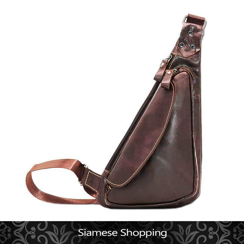ราคา ราคาถูกที่สุด Siamese Shopping หากระเป๋าเป็นของขวัญวันเกิดผู้ชายสักใบ แนะนำใบนี้เลย กระเป๋าคาดอก กระเป๋าสะพายหน้าอกเท่ๆ หนังแท้ ทรงสามเหลี่ยมไม่ซ้ำแบบใคร รุ่น Ljs 01122 สีน้ำตาล