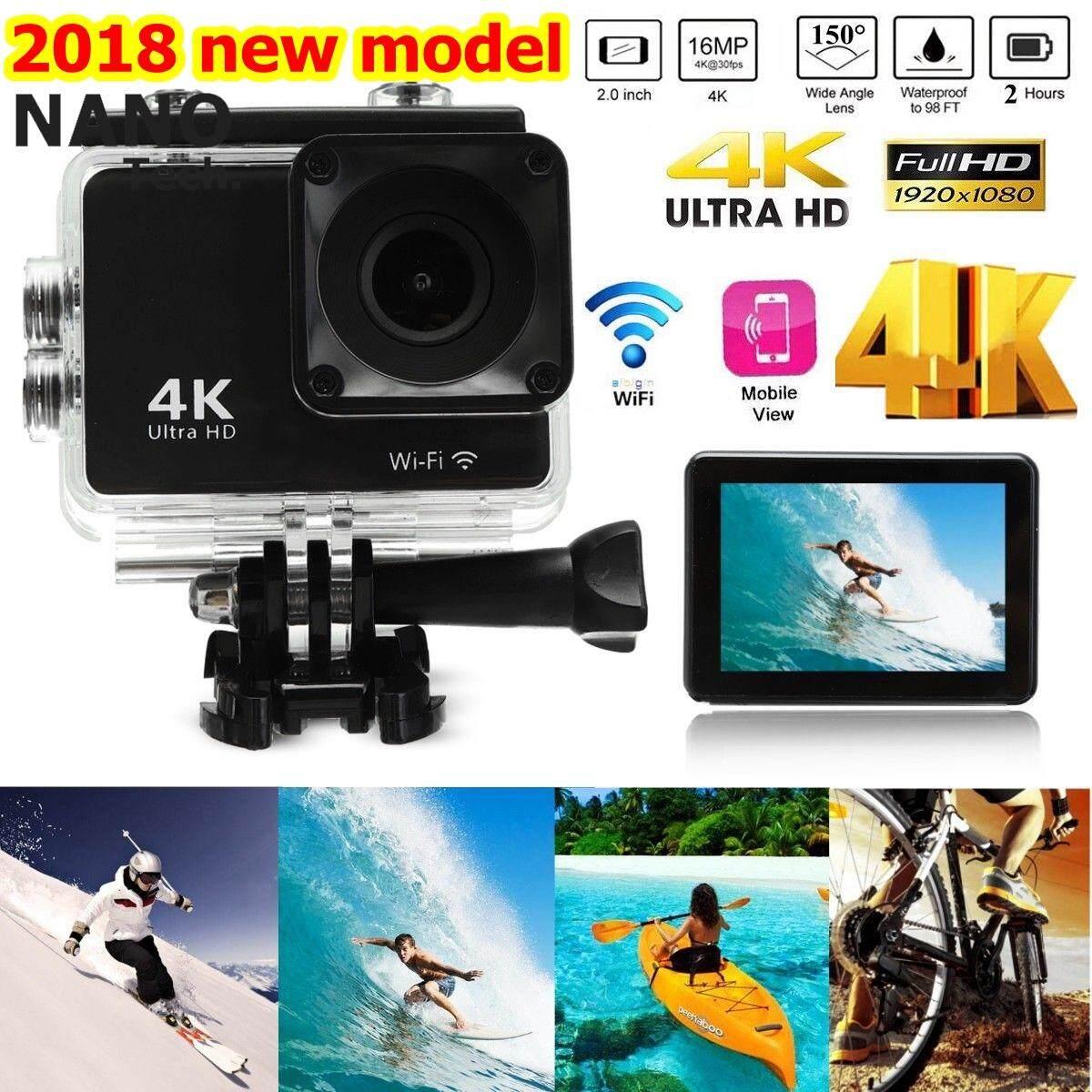 Sport Action Cam Camera Recorder กล้องกันน้ำ 4k H9k กล้องวีดีโอ Action Camera แท้ % - 4k H9k.
