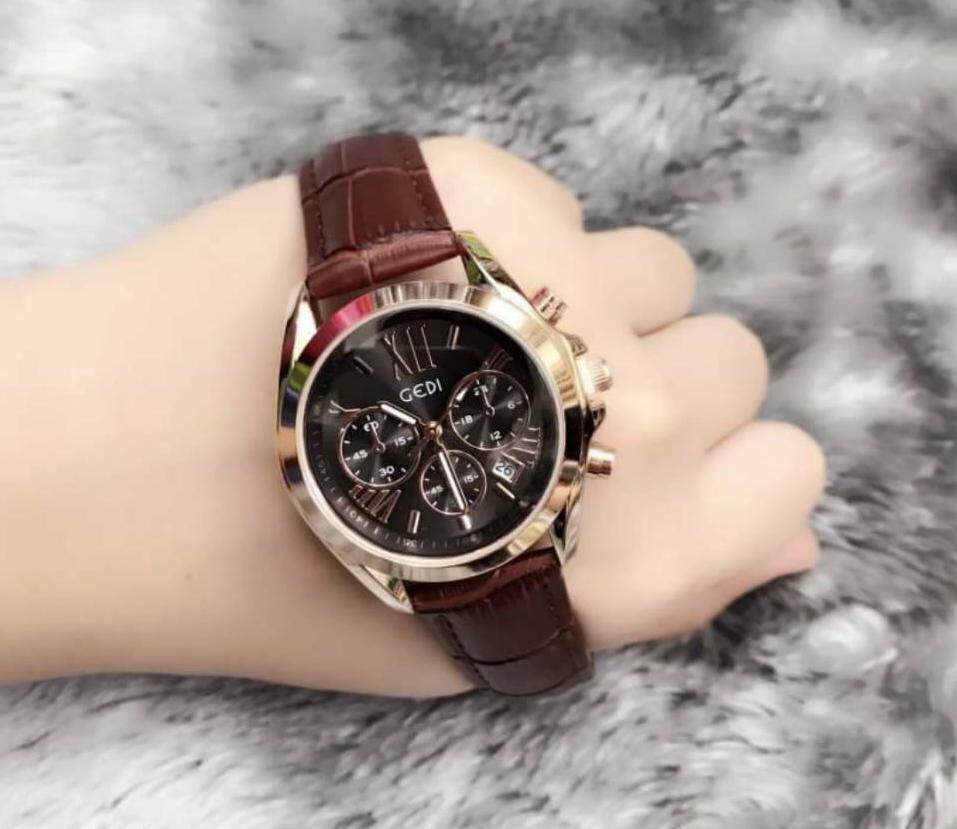 GEDI Watch หน้าปัดสไตล์ MK สุดฮิต สายหนังสีน้ำตาล- หน้าปัดดำ สินค้าของแท้ พร้อมกล่องแบรนด์ กันน้ำได้
