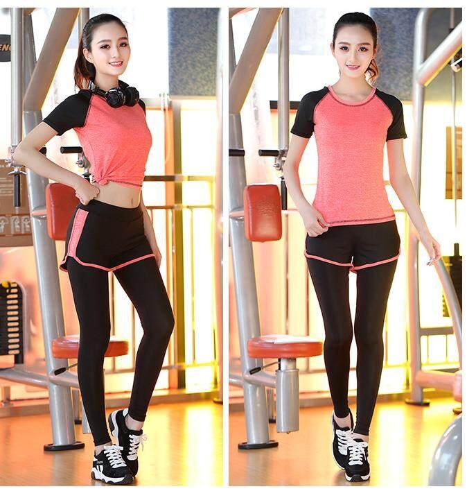 One Step ชุดออกกำลังกายผู้หญิง เซต 2 ชิ้น เสื้อแขนสั้น+กางเกงขายาว (สีส้ม)รุ่น 2003 By One Step Shop.