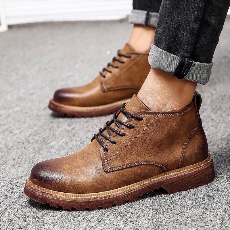 รองเท้าบูทชายฤดูใบไม้ผลิสำหรับฤดูร้อนรองเท้าบูทหนังสไตล์เกาหลีผู้ชายรองเท้าบูทมาร์ติน Zhong Gao Bang รองเท้าหนังชุดทำงานรองเท้าผู้ชายรองเท้าบูททหารสีน้ำตาลรองเท้าบูท By Taobao Collection.