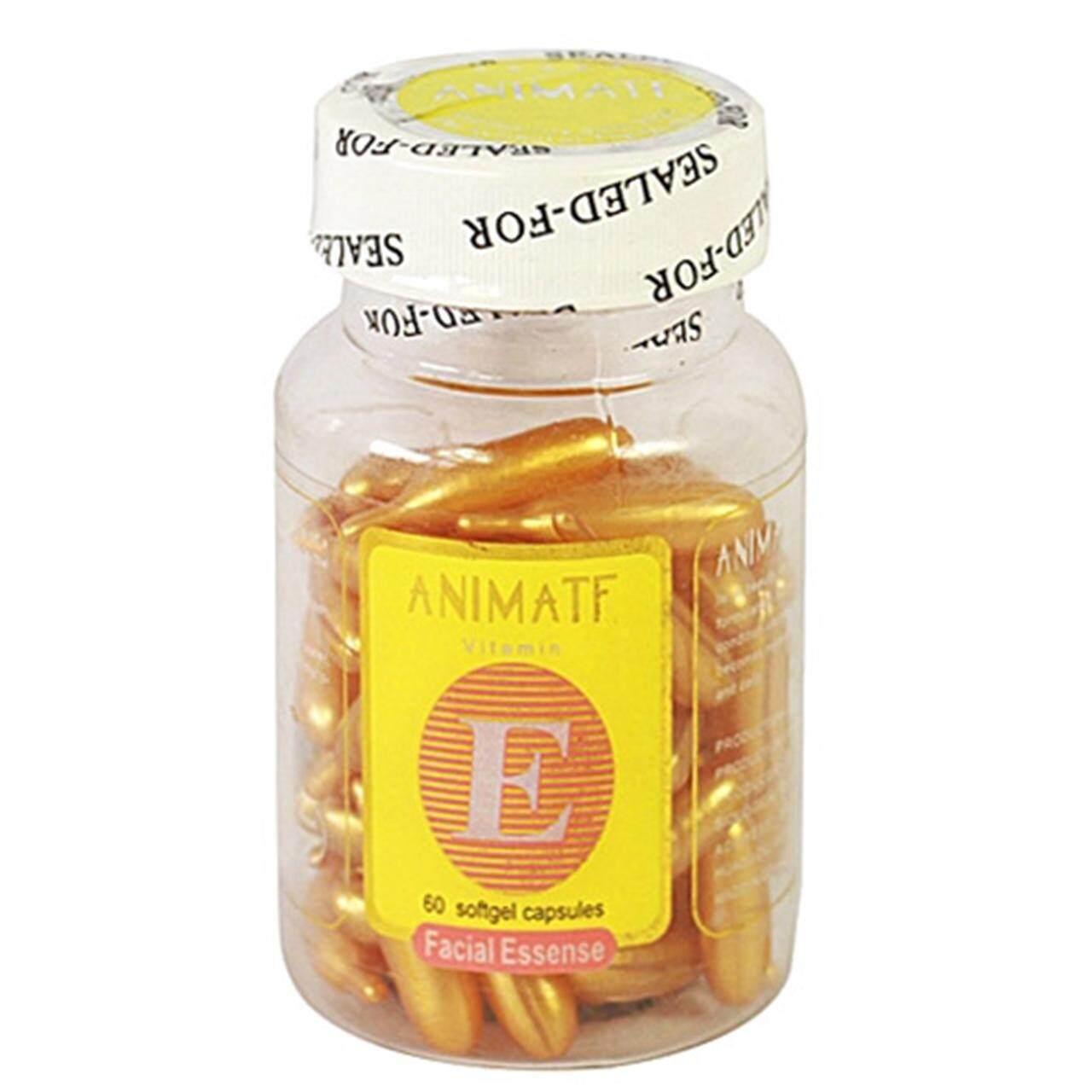 Animate Facial Essense Vitamin E เซรั่มวิตามิน E หน้าใส ไร้ริ้วรอย บรรจุ 60 แคปซูล (1 กระปุก ).