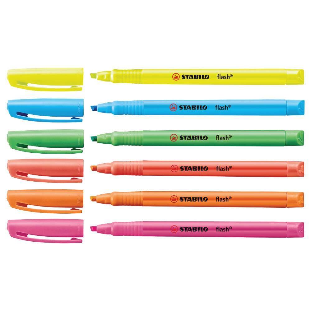 Stabilo Flash สตาบิโล ปากกา ปากกาเน้นข้อความ คละสี 6 สีสีละ 1 ด้าม By Udompanich Corporation Co.,ltd.