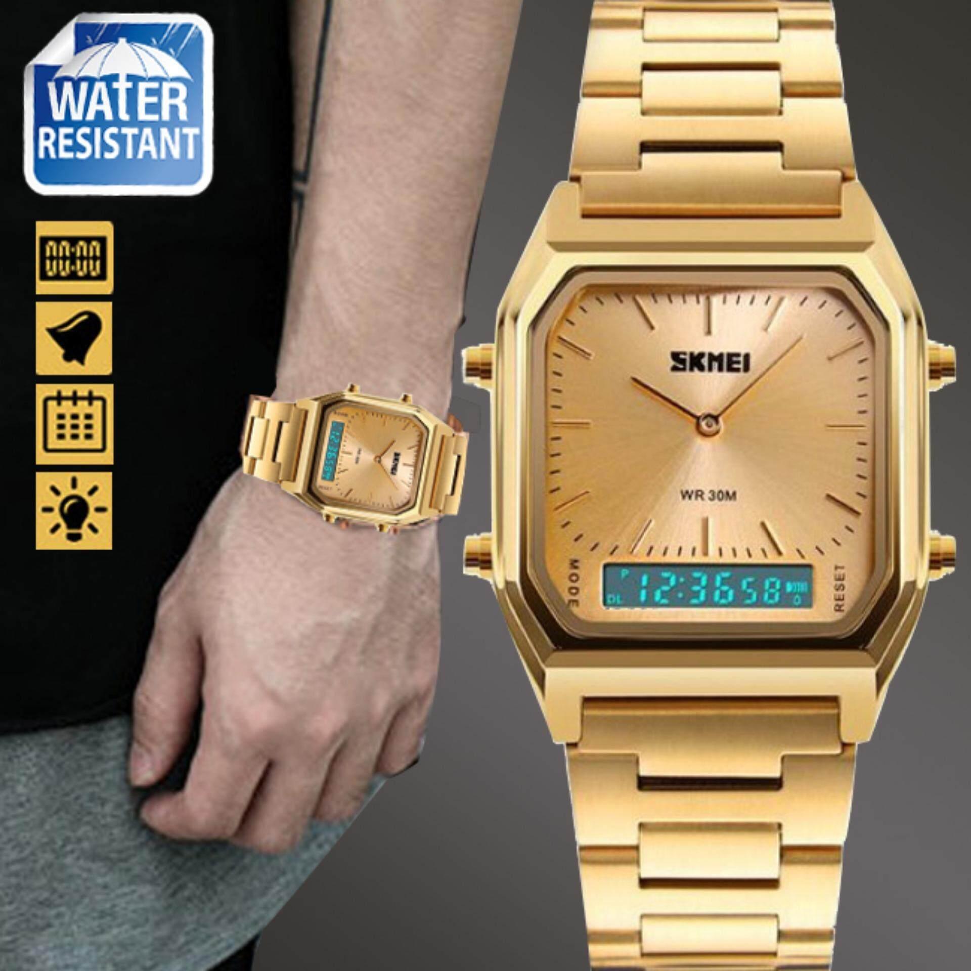 ทบทวน Skmei ของแท้ 100 ส่งในไทยไวแน่นอน นาฬิกาข้อมือผู้หญิง สไตล์ Casual Bussiness Watch ใช้งานได้ 2 ระบบ ทั้ง Analog และ Digital จับเวลา ตั้งปลุก กันน้ำ สายแสตนเลสสีทอง รุ่น Sk M1220 สีทอง Gold