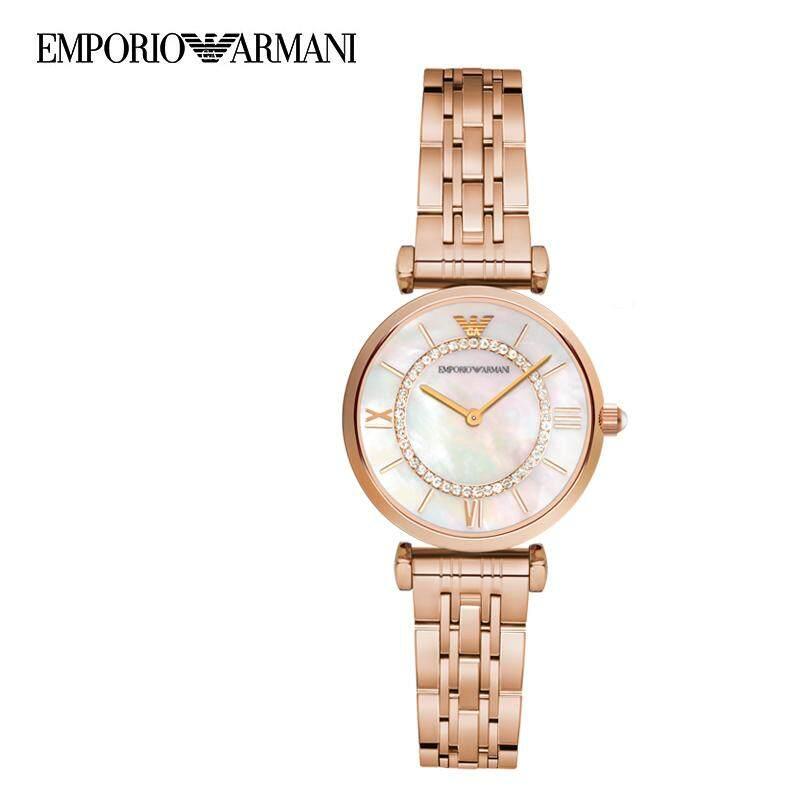 นาฬิกาผู้หญิง EMPORIO ARMANI Armani White Crystal Pave Dial Two-tone Ladies Watch AR1908