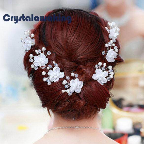 5 ชิ้นพลอยเทียมสวยงามดอกไม้มุกคริสตัลแต่งงานเจ้าสาว U - Hairpins.