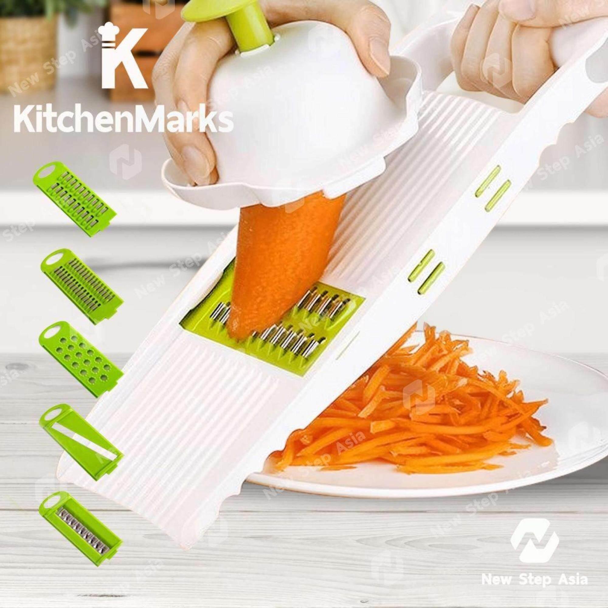 Kitchenmarks ชุดสไลด์ผักผลไม้ ใบมีดสแตนเลส 5 In 1 ด้ามจับพิเศษ ชุดมีดหั่นผักอเนกประสงค์ ชุดอุปกรณ์ปอกผักผลไม้ เครื่องหั่นผักผลไม้ที่หั่นผักผลไม้ ที่ขูดผักผลไม้ เครื่องหั่นผัก Multifunctional Fruit Vegetable Slice Nicer Dicer Slicers New Step Asia By Homehuk - New Step Asia.