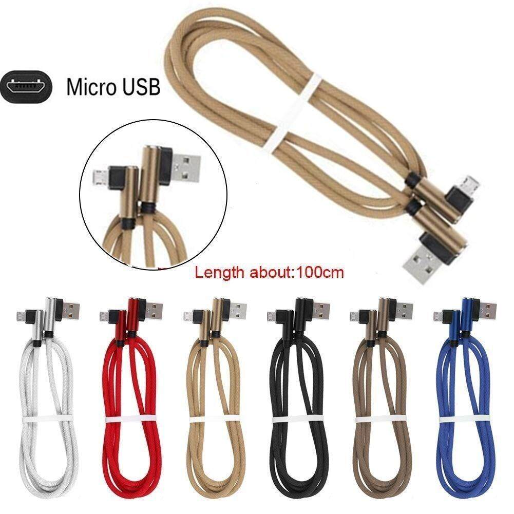 Braided L Shaped Micro Usb 90 Degree Angled Fast Data Sync Charge Charging Cable.