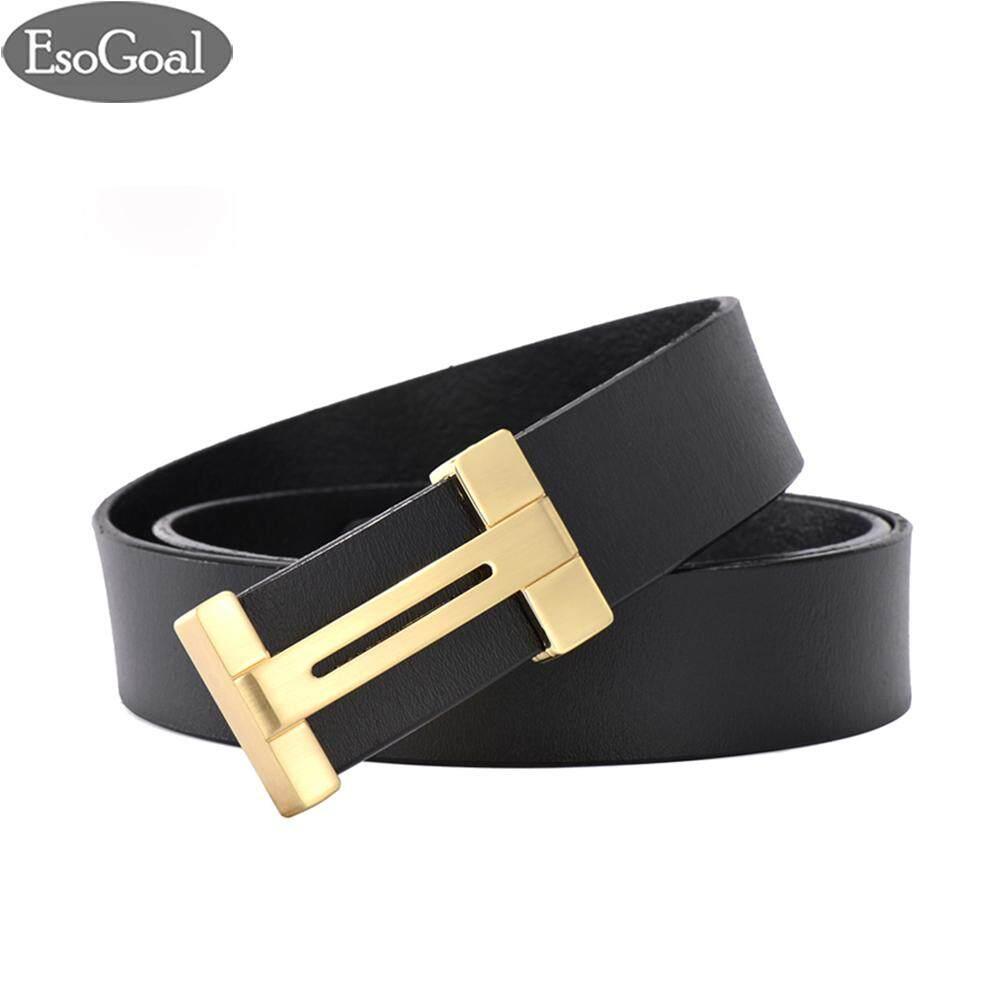 ราคา Esogoal สำหรับผู้ชายแบบ Esogoal H เข็มขัดหนังพร้อมหัวเข็มขัดแบบถอดได้ Business Casual Leather Belt 120 เซนติเมตร จีน