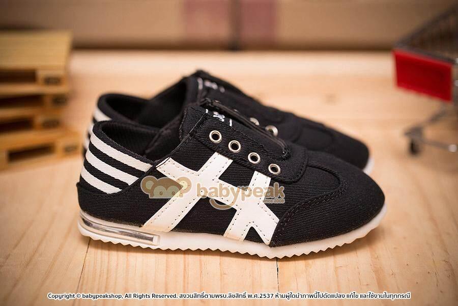 รองเท้าเด็ก รองเท้าผ้าใบเด็กไม่มีเชือกสไตล์สลิปออน Bp3466alzd (สีดำ) Babypeakshop By Babypeak Shop.