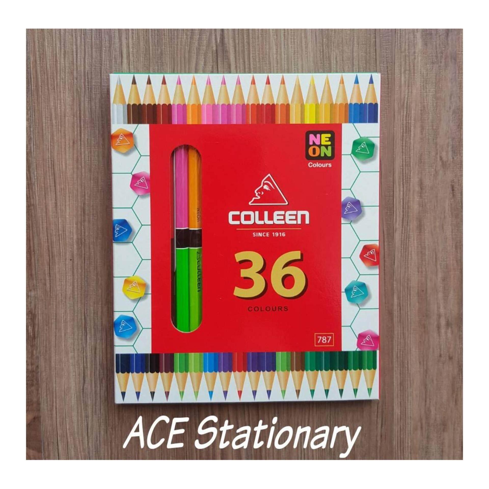 Colleen ดินสอสีไม้ คลอลีน 2 หัว 18 แท่ง 36 สี  รุ่น787 (สีธรรมดา+สะท้อนแสง).