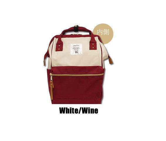 จันทบุรี กระเป๋า Anello Canvas Unisex Backpack White/Wine (Classic Size) - Japan Imported 100%