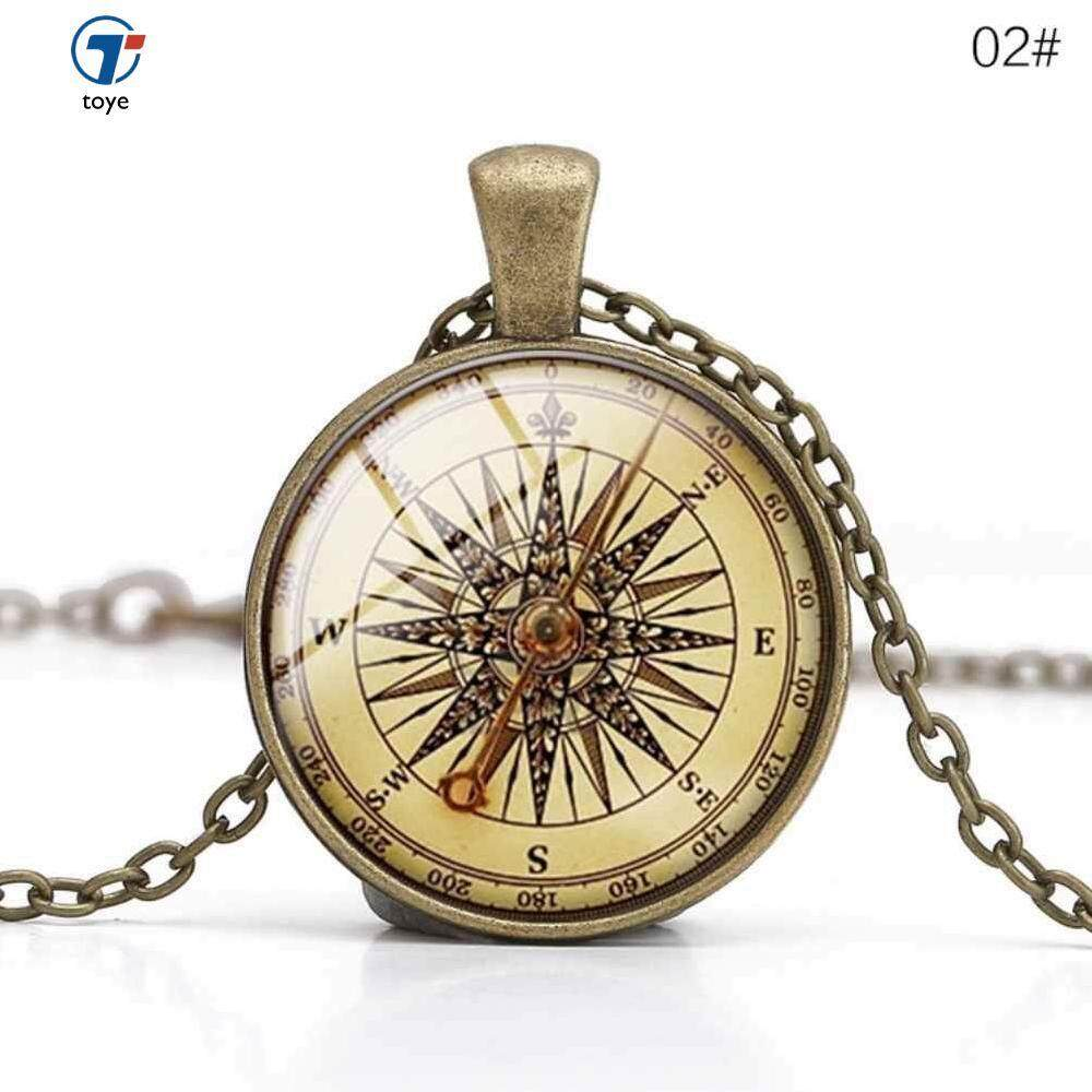 Europe And America Vintage Necklace Pendant Compass Time Time Gemstone Necklace By Toye.