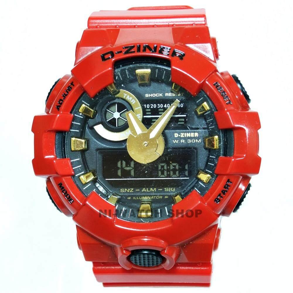 ซื้อ นาฬิกาข้อมือชาย D Ziner 2 ระบบ เรือนสีแดง เข็มทอง สายพลาสติก D Ziner ออนไลน์