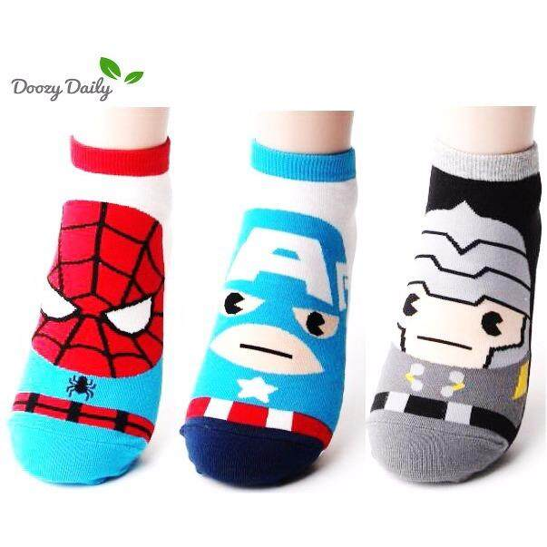 ราคา Marvel Socks ผลิตภัณฑ์ลิขสิทธิ์ ถุงเท้าผู้ชาย Spider Man Captain America 3 คู่ Made In Korea