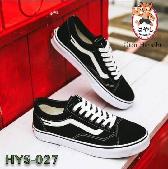[ HYS-027 ] Hayashi -  รองเท้าผ้าใบ รองเท้าผ้าใบผู้ชาย รองเท้าแฟชั่น สไตล์เกาหลี (สีดำ)