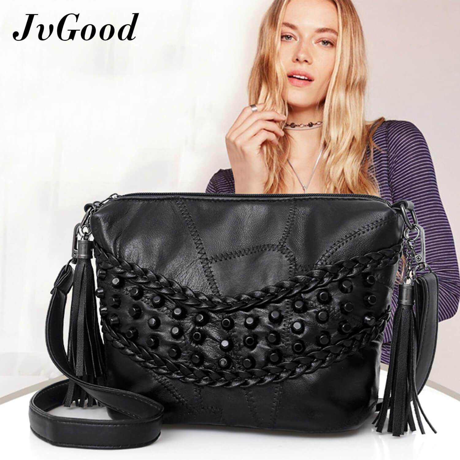 พัทลุง JvGood กระเป๋าสะพายข้าง CrossBody Shoulder Bag Purse PU Leather Messenger Bag Sling Bag with Tassel Satchel Bag Tote Purse Top Handle Handbag Backpack for Women Teen Girls