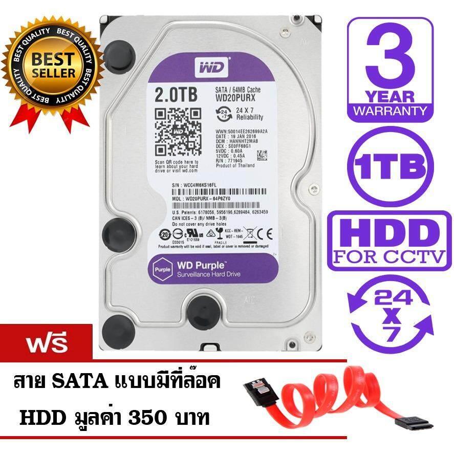 ขาย Wd Purple 2Tb For Cctv Wd20Purx สีม่วง รับประกัน 3 ปี แถมฟรีสาย Sata Hdd กรุงเทพมหานคร