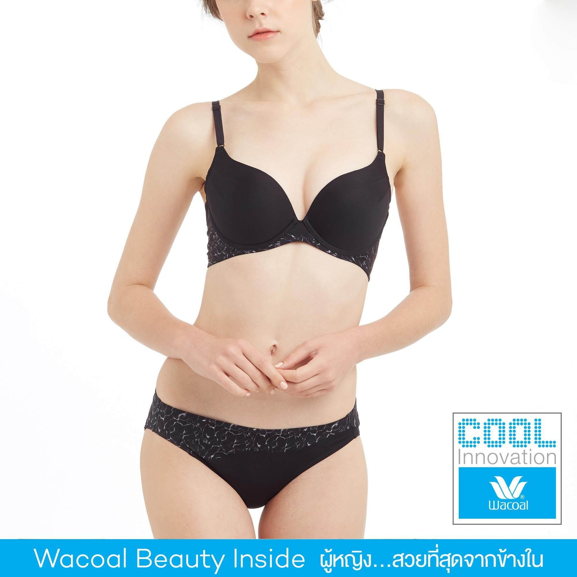 Wacoal Cool innovation เซ็ทชุดชั้นในกางเกงชั้นใน Push up Bra 3/4 Cup (สีดำ/BLACK) - WB3K22BL-W63K22BL