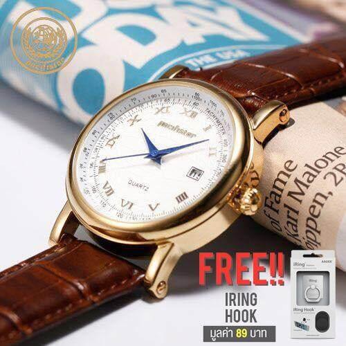ราคา Pacifistor Vintage Date Quartz Men S Wrist Watch Red Golden Roman Brown Leather Brown ฟรี Iring Hook