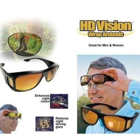 Hd Vision Wrap Arounds แว่นตาใส่ขับรถกลางคืน และกลางวัน สวมครอบกับแว่นที่มีอยู่หรือใส่เดียวๆ ตัดแสงสะท้อน ตัดหมอก ลดอบุติเหตุ ภาพมองชัด ขึ้นสินค้าคุณภาพ Usa ของแท้ 100% By Peeposhop26.