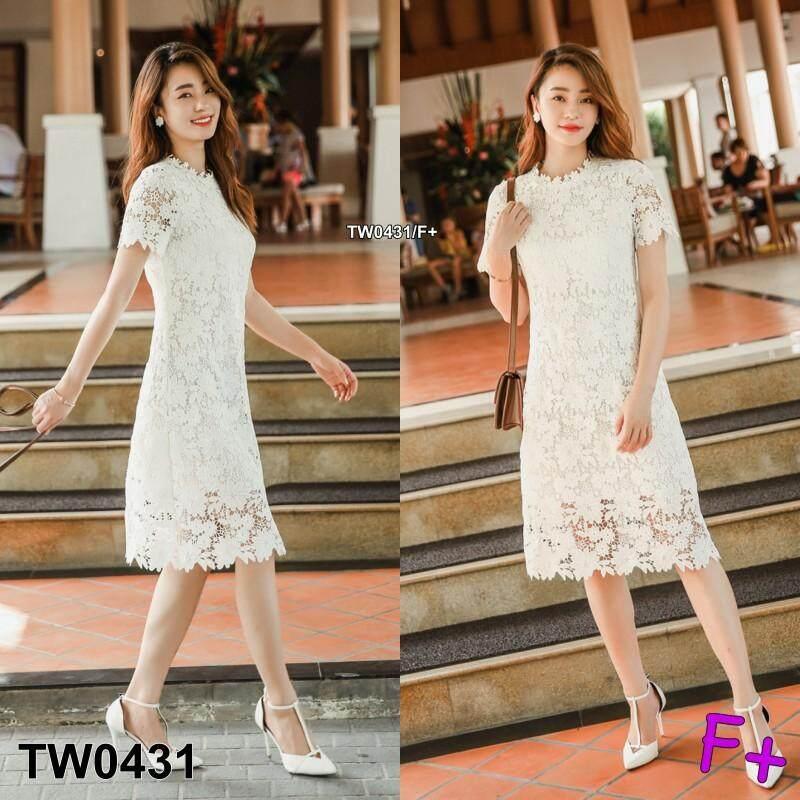 Tw0431 ชุดเดรสลูกไม้ทรงเข้ารูป Korea Style By Twinsshop.