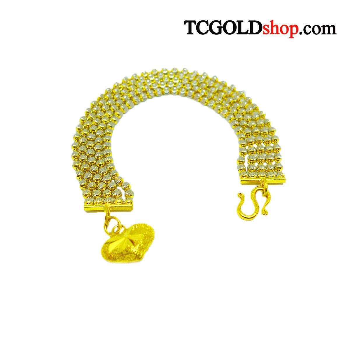 สร้อยข้อมือทองคำแท้ 96.5% นน.2 บาท ลายไพลินแถว 2 สี By Tc Gold Shop.