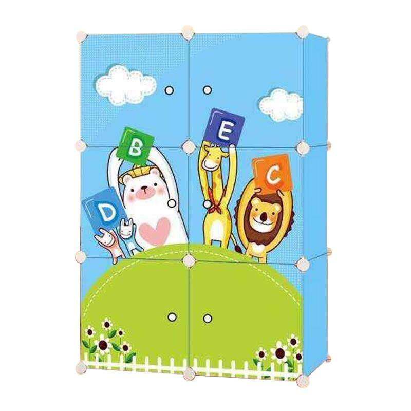 Diy Plus ตู้เสื้อผ้า ตู้เก็บของ ตู้อเนกประสงค์ ตู้เสื้อผ้าแบบพับเก็บได้ ถอดประกอบได้ [6boxa - ลาย4สหาย].