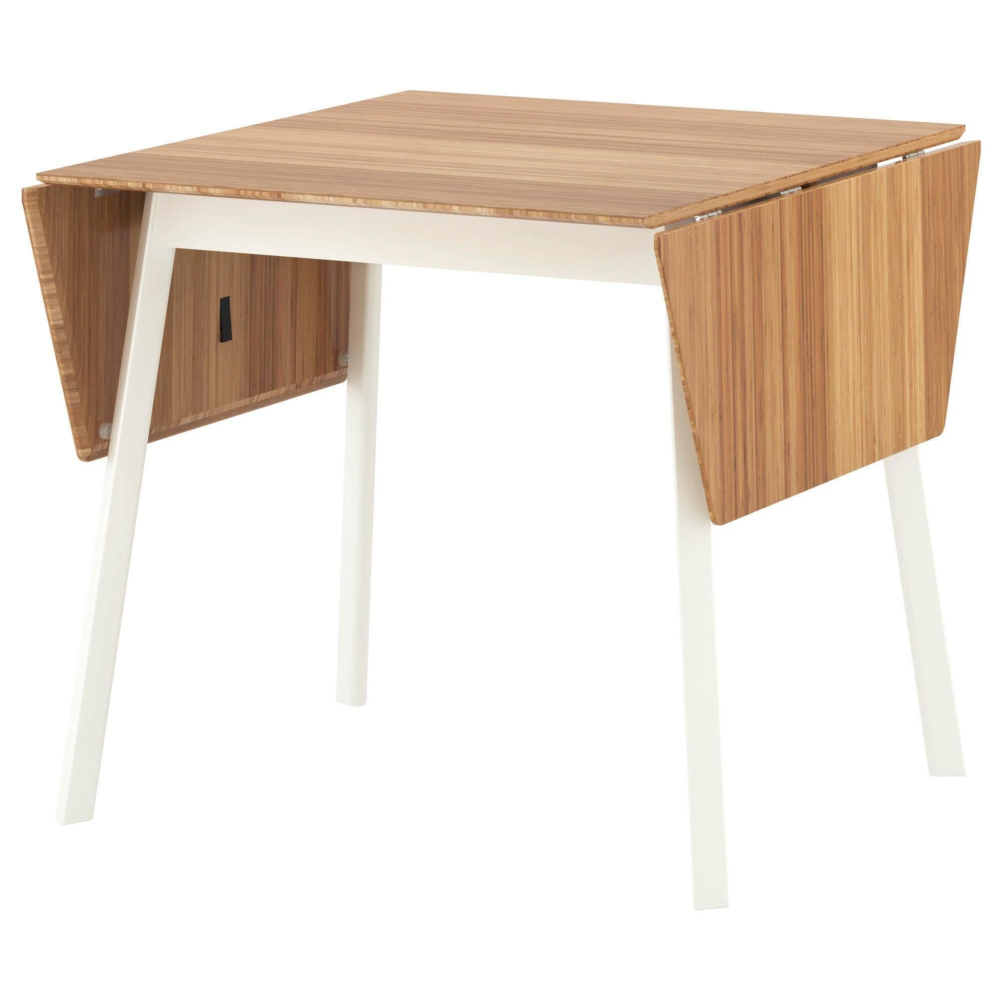 โต้ะทำงาน โต้ะคอม โต้ะเกมส์ โต้ะเขียนหนังสือ โต๊ะพับข้าง, ไม้ไผ่, ขาว ขนาด 74/106/138x80 ซม. โต๊ะปรับขยายได้ Ikea Ps 2012 2012  ขนาด 74/106/138x80 ซม..
