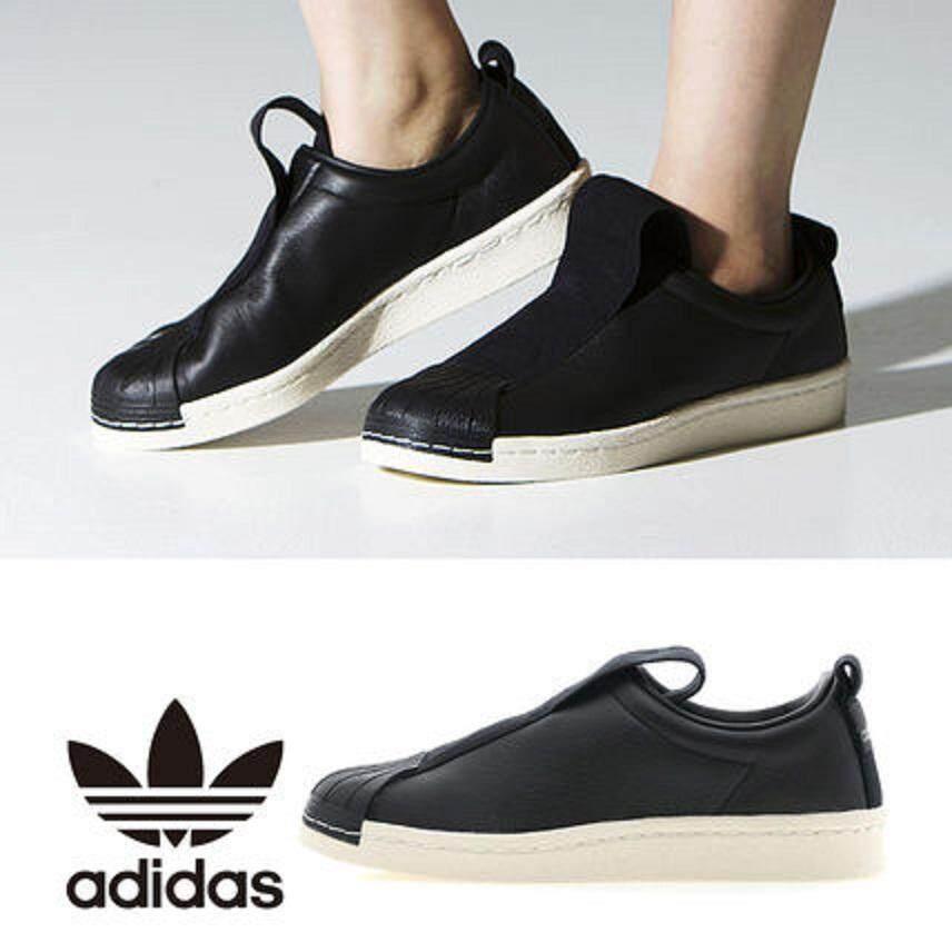 ลดสุดๆ Adidas รองเท้า ผ้าใบ ลำลอง ผู้หญิง อาดิดาส Super star slip on BW LEATHER BLACK สลิปออน รุ่นหนัง ยอดฮิต ใส่สบาย ของแท้ 100% ส่งไวด้วย kerry!!!!