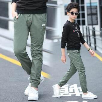 12 ผ้าฝ้ายและผ้าลินินเด็กถุงน่องกางเกงเด็กชายกางเกงขายาว (สีเขียว)
