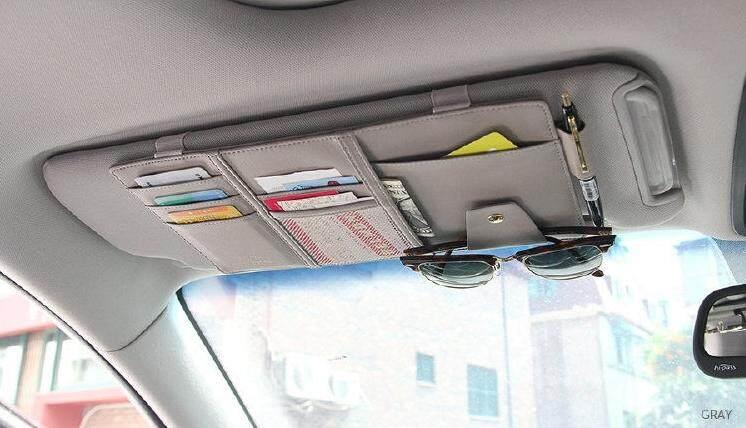 กระเป๋าเก็บบัตรติดที่บังแดดรถยนต์ หนังpu เทา / ดำ / ครีม By Iq Gadget.