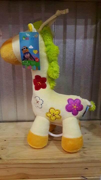 Babylanla ตุ๊กตากล่อมนอนลายม้าน้อยสุดน่ารัก ระบบไขลาน กำมะหยีขนสั้น แขวนเป็นโมบายได้ สีสันสดใส สีเหลือง