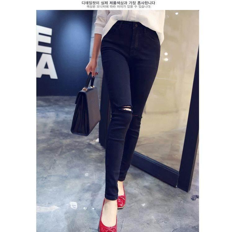 โปรโมชั่น Fashion กางเกงยีนส์ ขายาว ขาเดฟ แต่งขาดที่เข่า ดีไซน์ ทันสมัย สีดำ รุ่น 887 ถูก