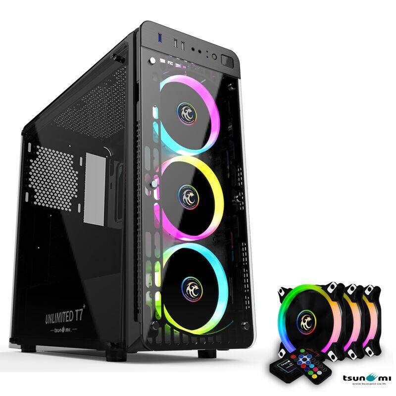 Tsunami Unlimited Series T7+ Gaming Case With Circle Rgb Cooling Fan X3 By Jumroon.