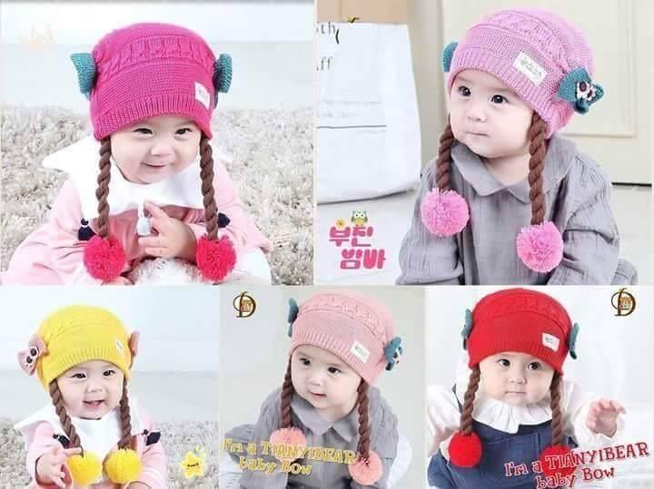 หมวกไหมพรมเด็ก รูปเปีย น่ารัก ผู้หญิงอายุ3 เดือน- 2 ปี (1ใบ)