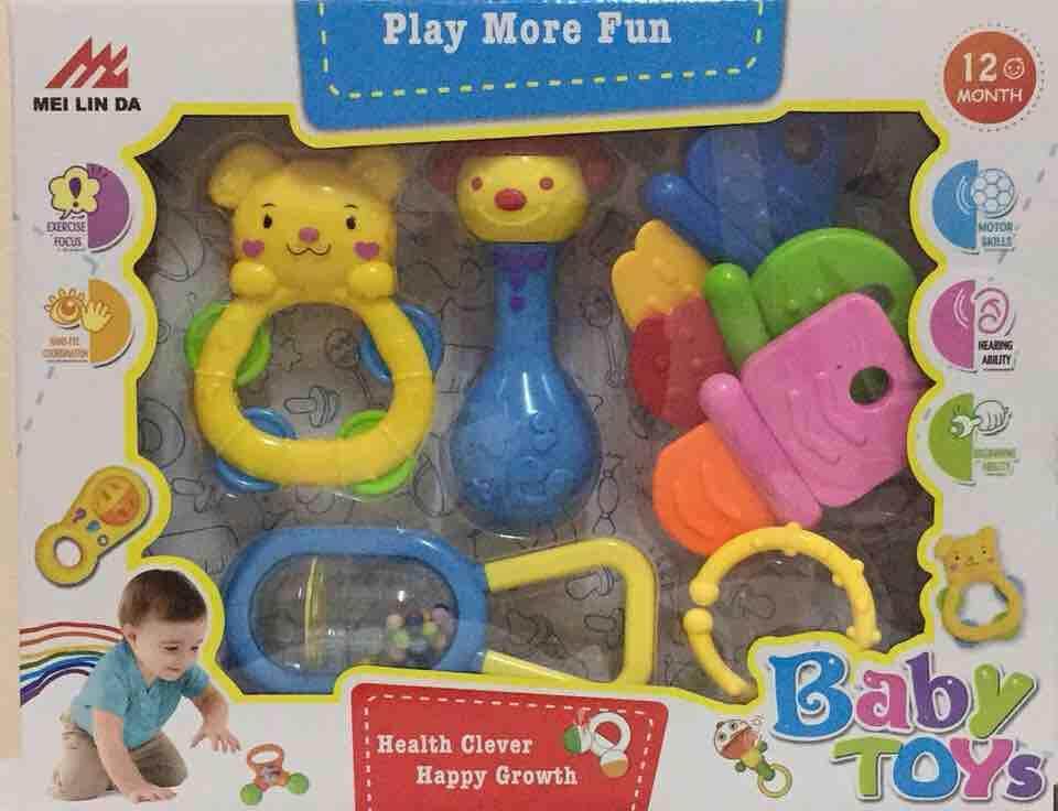 ชุดเขย่ามือ+ยางกัด(7ชิ้น)ส่งฟรี By Mj Toy.