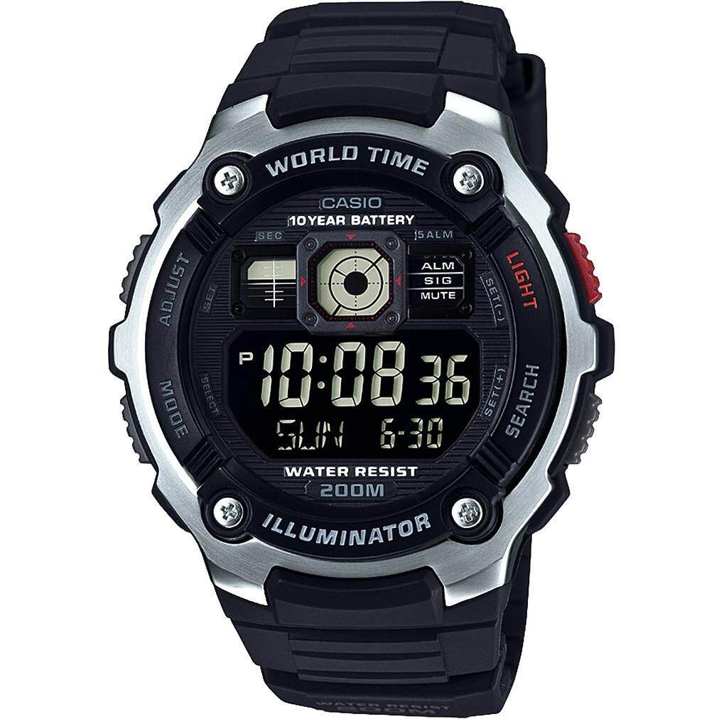 Casio แบตเตอรี่ 10 ปี Diver นาฬิกาข้อมือ สายเรซิน รุ่น AE-2000W