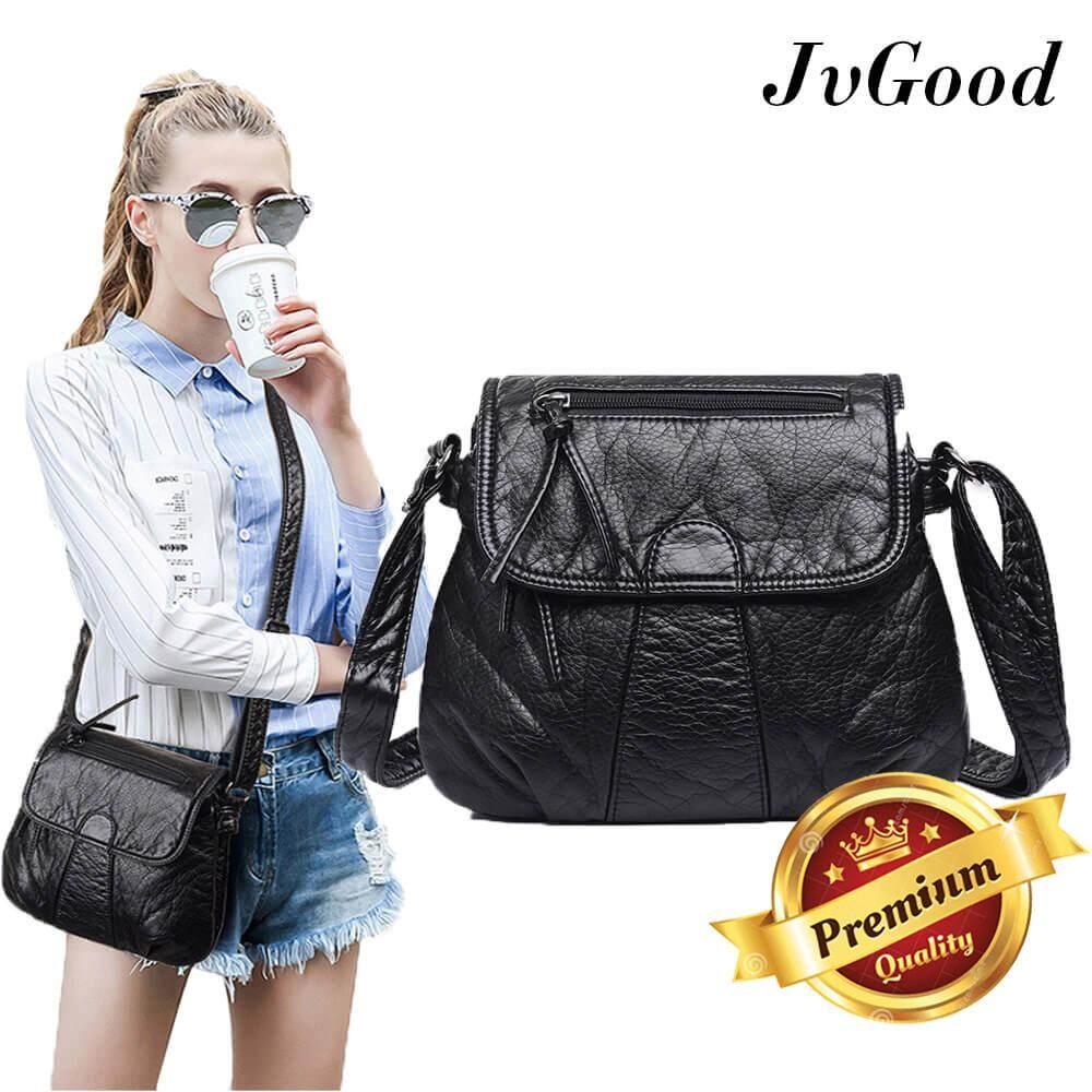 กระเป๋าสะพายพาดลำตัว นักเรียน ผู้หญิง วัยรุ่น เพชรบูรณ์ JvGood กระเป๋าสะพายข้าง Sling Bag Women Messenger Bags Crossbody Soft PU Leather Shoulder Bag High Quality Fashion Women Bags Handbags