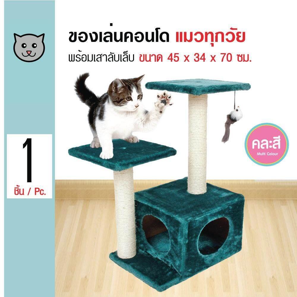 ราคา Cat Toys ของเล่นแมว 2 เสา คอนโดแมวพร้อมช่องเล่นมุด ที่นอนแมว สำหรับแมวทุกวัย ขนาด 45X34X70 ซม Kanimal เป็นต้นฉบับ
