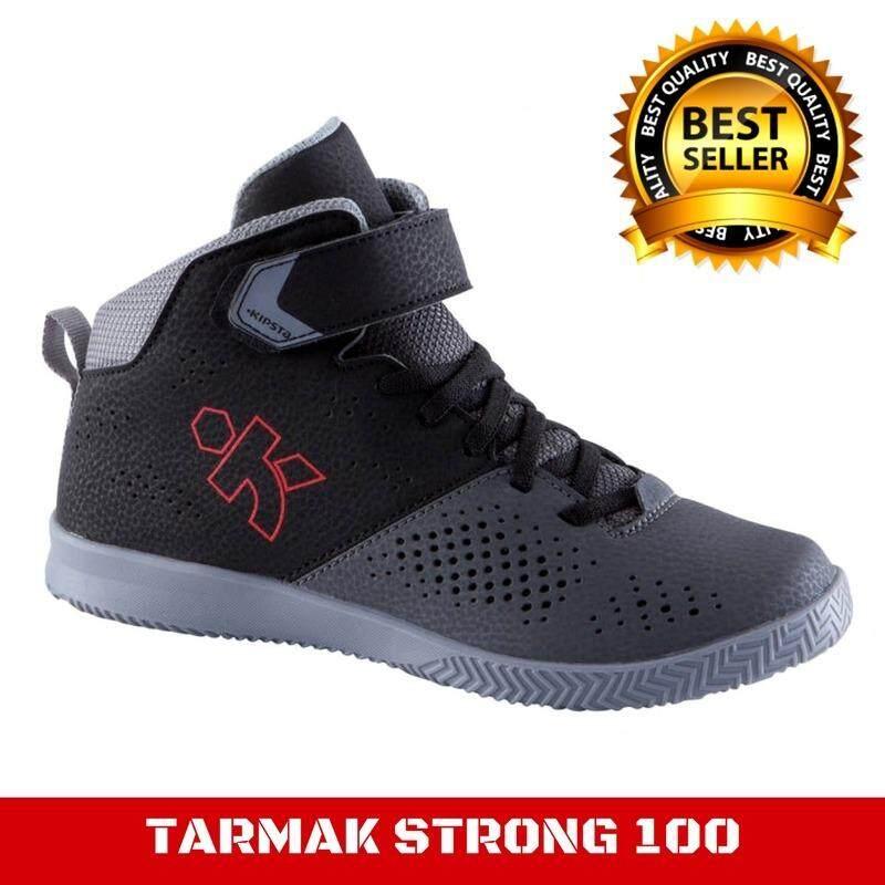 รองเท้าบาสเก็ตบอล รองเท้าใส่เล่นบาสเก็ตบอล สำหรับเด็กtarmakรุ่นstrong 100 (สีดำ/เทา) รองเท้าบาสเก็ตบอลที่สวมใส่และถอดออกง่าย เหมาะสำหรับเด็ก แน่นกระชับด้วยเชือกที่ไม่ต้องคอยปรับขณะเล่นอยู่บนสนาม By Inspire Mall.